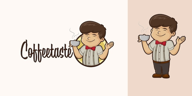 Logo kreskówka smak kawy