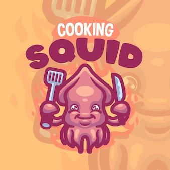 Logo kreskówka stworzenie kałamarnicy morskiej