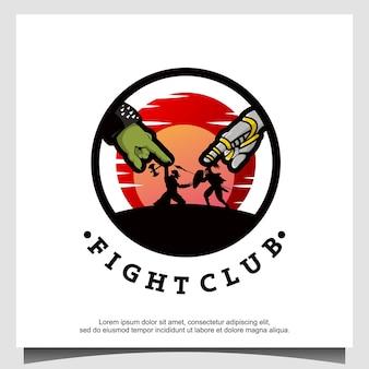 Logo kreskówki postaci walki ninja