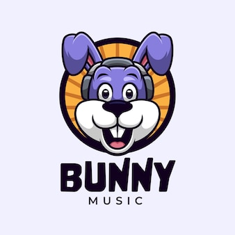 Logo kreskówki z króliczkiem słuchającym muzyki w słuchawkach