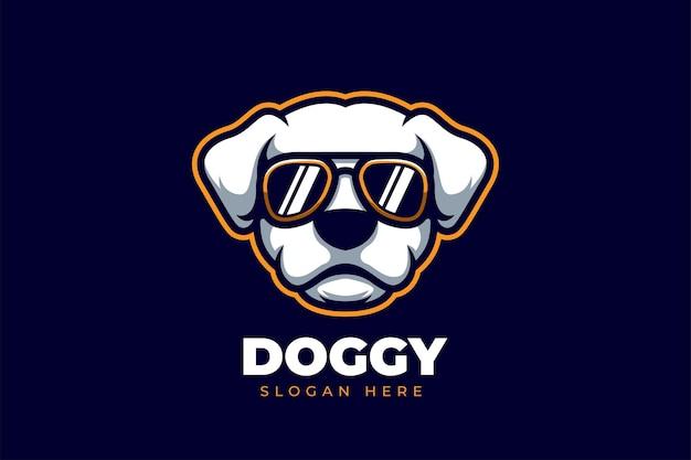 Logo kreskówkowe dla psa z kreatywną i stylową koncepcją
