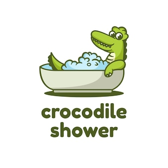Logo krokodyla prosty styl maskotki.