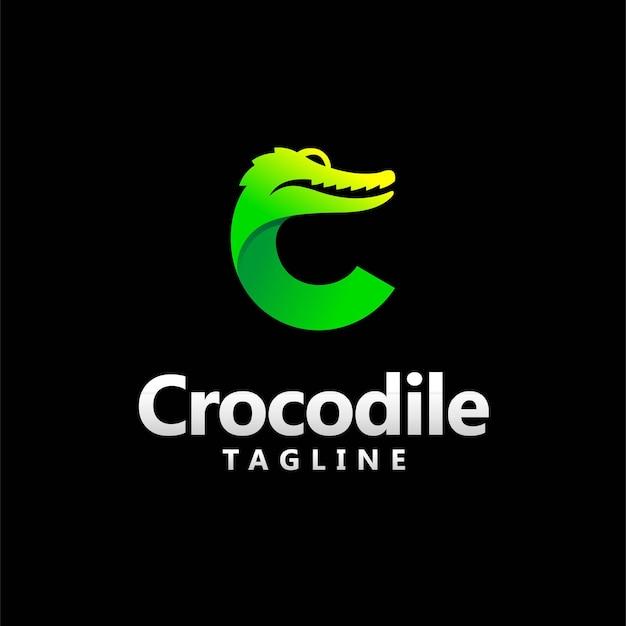 Logo Krokodyla Z Koncepcją Litery C Premium Wektorów