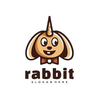 Logo królik prosty styl maskotka.