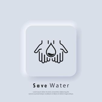 Logo kropli wody. naturalna akwa. ikona kropla wody w ręku. oszczędzanie wody to koncepcja środowiskowa. wektor. biały przycisk sieciowy interfejsu użytkownika neumorphic ui ux. neumorfizm