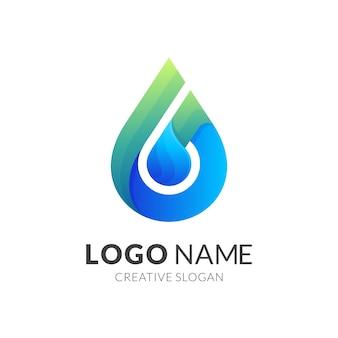 Logo kropli wody w kolorowym stylu
