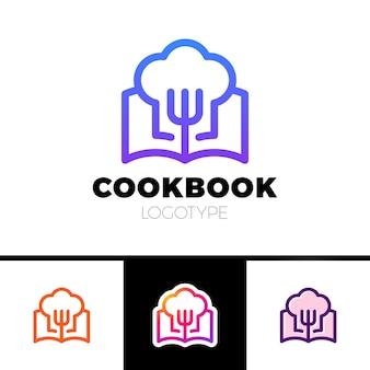 Logo książki kucharskiej. gotowanie nauczyć się logotypu wektorowego