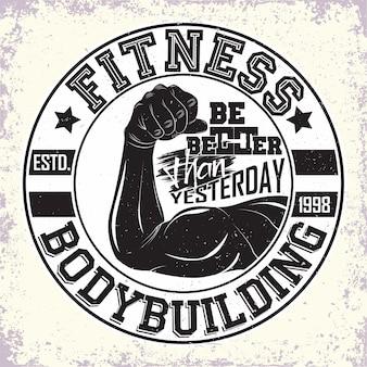 Logo kulturystyki vintage fitness