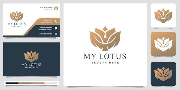Logo kwiat lotosu z płaskim abstrakcyjnym wzorem róży i złotym kolorem. szablon logo i wizytówki.