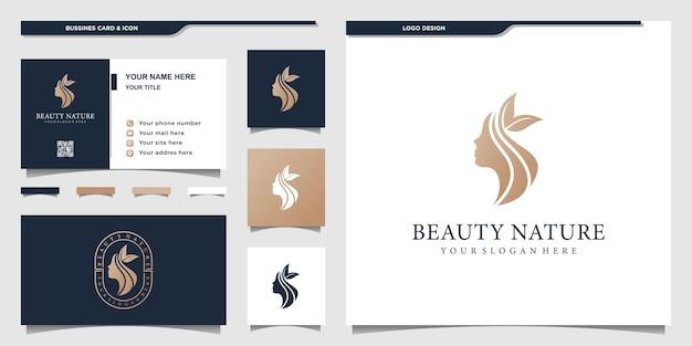 Logo kwiat piękna twarz kobiety ze złotymi kolorami gradientu i projektowaniem wizytówek. wektor premium