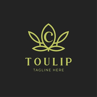 Logo kwiat tulipana z wewnętrzną literą c natura luksus