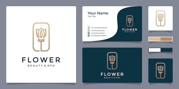Logo kwiatowe dla urody i spa z szablonem wizytówki