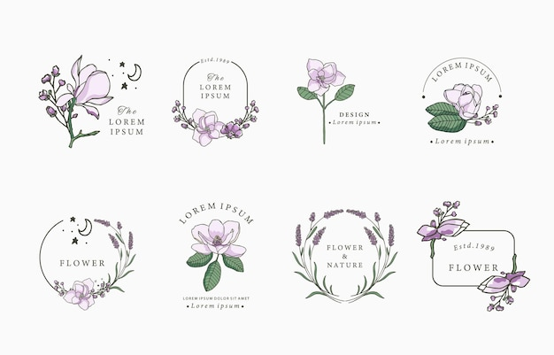 Logo kwiatu czarnej linii z magnolią, lawendą