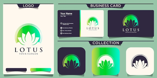 Logo kwiatu lotosu połączone projektowanie logo koła pędzla i projektowanie wizytówek