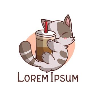 Logo ładny kot kawy pić kreskówka maskotka