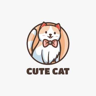 Logo ładny kot maskotka prosty styl.