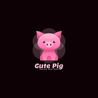 Logo ładny świnia kolorowy styl gradientu.