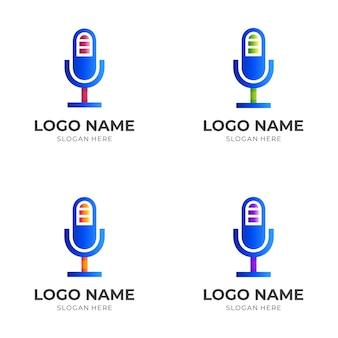 Logo ładowania mikrofonu, mikrofon i bateria, połączenie logo w kolorowym stylu 3d