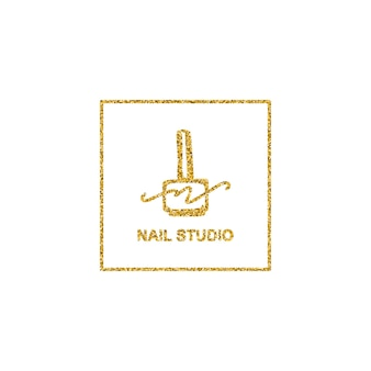 Logo lakieru do paznokci z teksturą złotego brokatu w modnym minimalistycznym stylu liniowym. logo dla salonu kosmetycznego lub manikiurzystki. szablon do pakowania lakieru do paznokci, paznokci, mydła, sklepu kosmetycznego.
