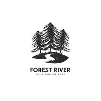 Logo lasu i rzeki, las sosnowy teksturowanej vintage ikona logo ilustracja dla miłośników przyrody i kempingu
