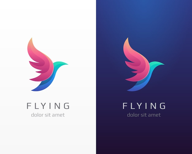 Logo latającego ptaka. warianty logo czerwonych skrzydeł.
