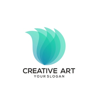 Logo leaf wings gradient kolorowy design