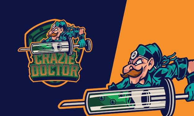 Logo lekarz ze szczepionką zastrzykową premium wektorowa maskotka ilustracja