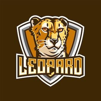 Logo leopard mascot dla esportu i sportu