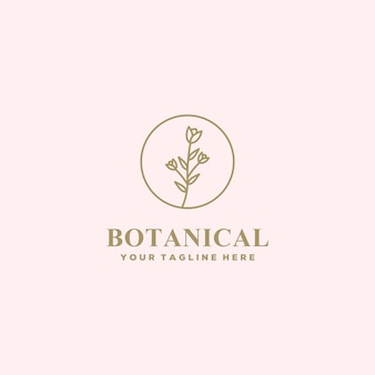Logo linii botanicznych kwiatów w stylu premium