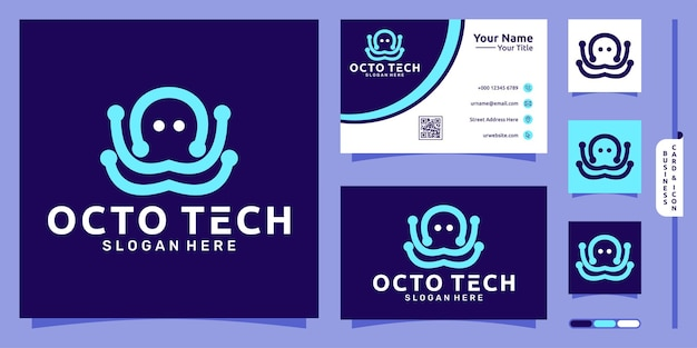 Logo linii ośmiornicy z nowoczesną koncepcją techniczną i projektem wizytówki wektor premium