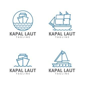 Logo linii statku żaglowiec fale oceanu statek