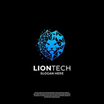 Logo lion tech z abstrakcyjnym symbolem połączenia dla technologii