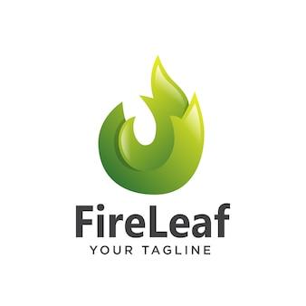 Logo liść ognia gradient 3d nowoczesny