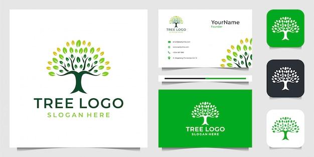 Logo liści drzewa w nowoczesnym stylu. garnitur do dekoracji, urody, spa, marki, reklamy, natury, zdrowia i wizytówek