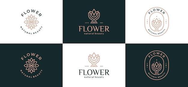 Logo liści luksusowych streszczenie kwiat