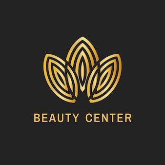 Logo liścia centrum urody, elegancki złoty design dla wektora biznesowego zdrowia i odnowy biologicznej