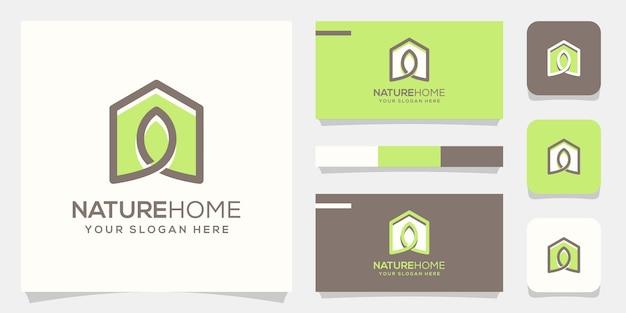 Logo liścia domu i wizytówka