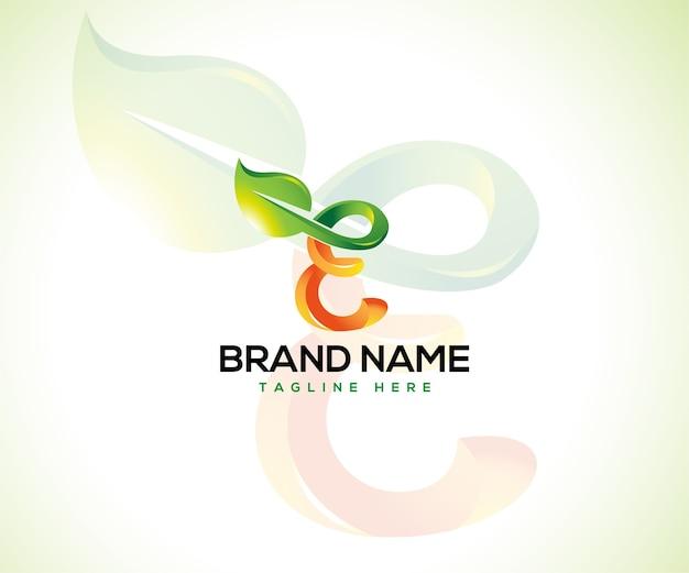 Logo liścia i koncepcja logo początkowa litera e.