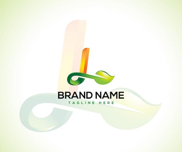 Logo liścia i koncepcja logo początkowa litera l.