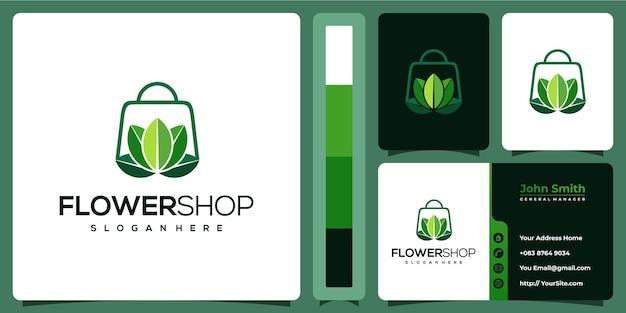 Logo liścia kwiaciarni z szablonem wizytówki