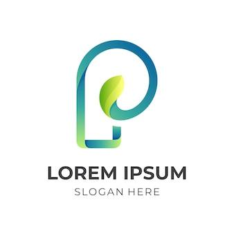 Logo liścia litery p, liścia i litery p, logo kombinacji w stylu 3d w kolorze niebieskim i zielonym