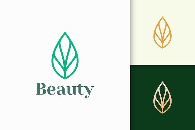 Logo liścia lub rośliny w prostym kształcie linii dla biznesu spa lub urody