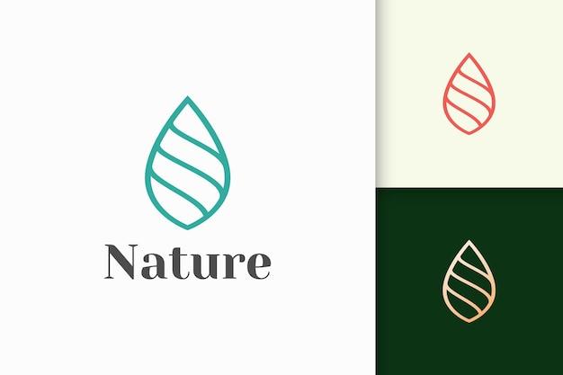 Logo liścia lub rośliny w prostym kształcie linii reprezentuje kosmetyk lub zdrowie