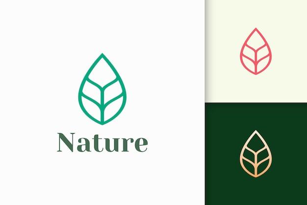 Logo liścia lub rośliny w prostym kształcie linii reprezentuje piękno i zdrowie