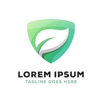Logo liścia tarczy, bezpieczne ziołowe logo