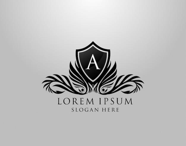 Logo listu. klasyczny projekt inital a royal shield dla rodziny królewskiej, znaczka listowego, butiku, etykiety, hotelu, heraldycznego, biżuterii, fotografii.