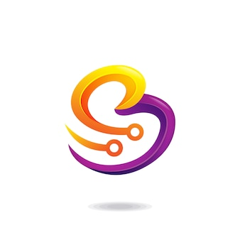 Logo litera b technologii
