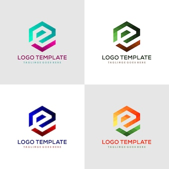 Logo litera e sześciokątne wstążki linii logo, ikona, symbol