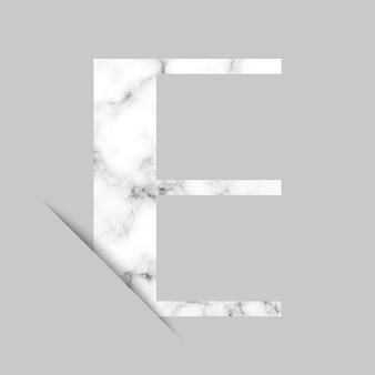 Logo litera e z szarym i białym marmurowym tłem