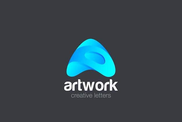 Logo Litery A. Logotyp Czcionki Technologii Medialnej Premium Wektorów
